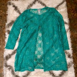 Shear lace coverup cardigan